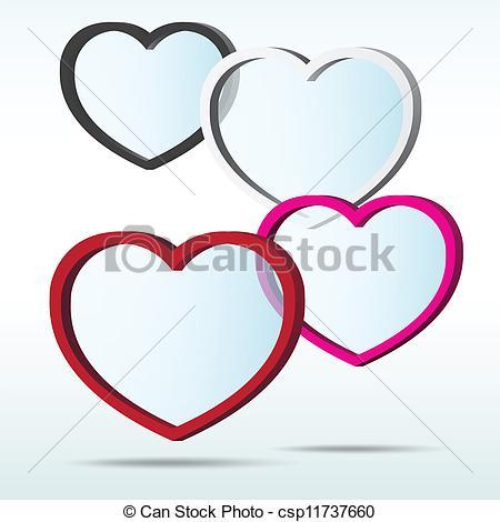 450x470 Abstract 3d Heart Speech Bubble Background.eps10 Clip Art Vector