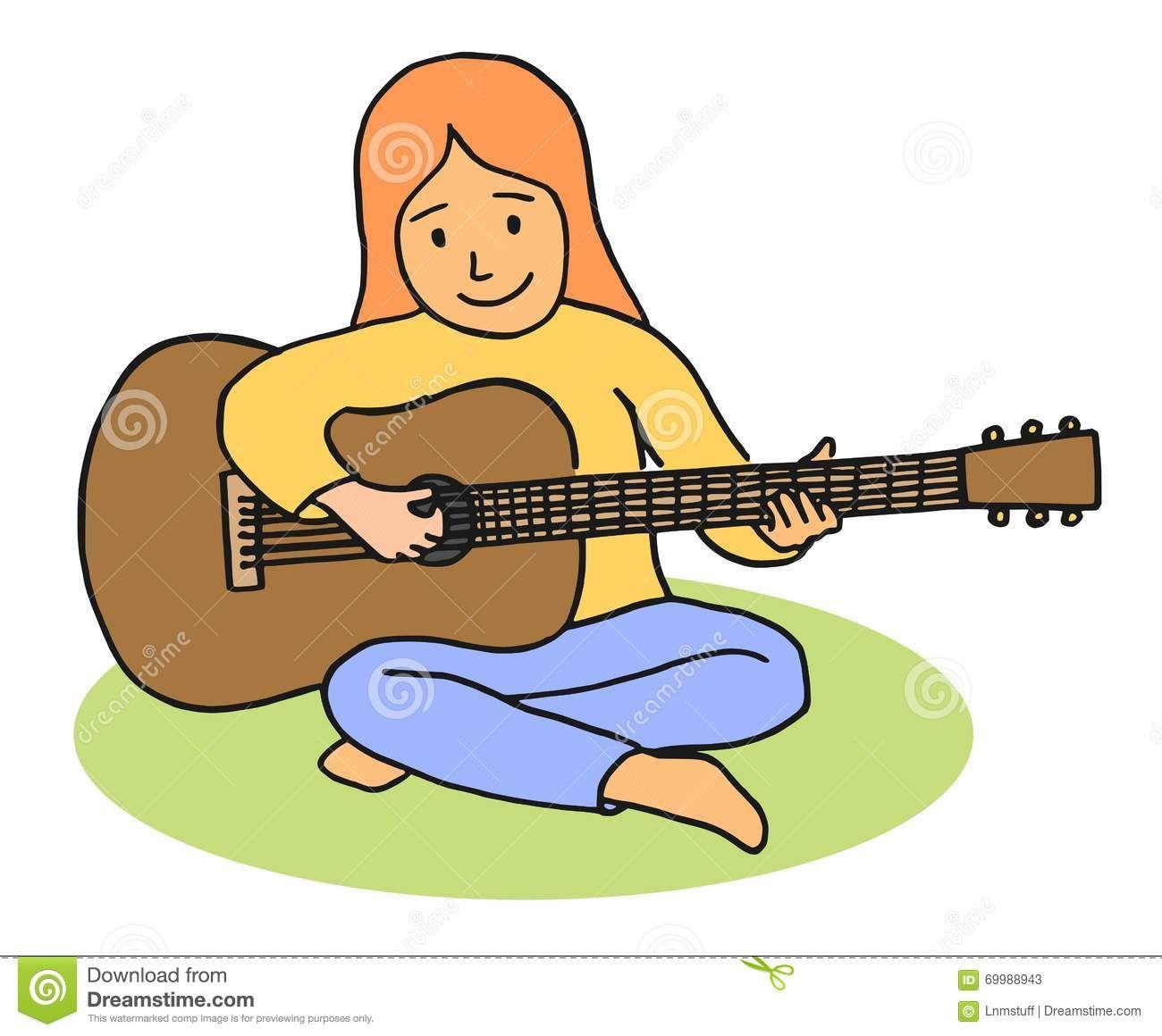 1300x1160 Cartoon Girl Playing Guitar Stock Photos Motivation