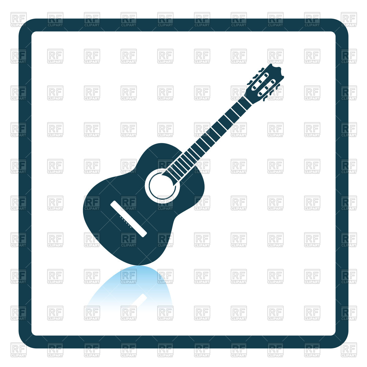 1200x1200 Shadow Reflection Design Of Acoustic Guitar Icon Royalty Free
