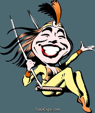 402x480 Cartoon Trapeze Artist Royalty Free Vector Clip Art Illustration