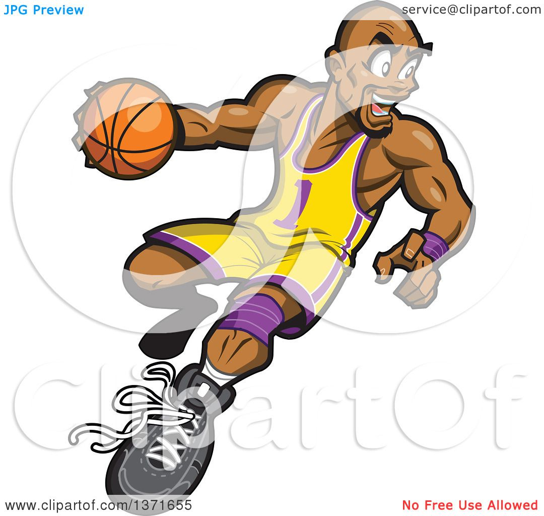 1080x1024 Clipart Of A Muscular Black Basketball Player In Action