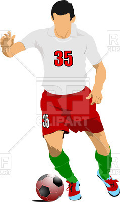 238x400 Silhouette Of Soccer Player In Action Royalty Free Vector Clip Art