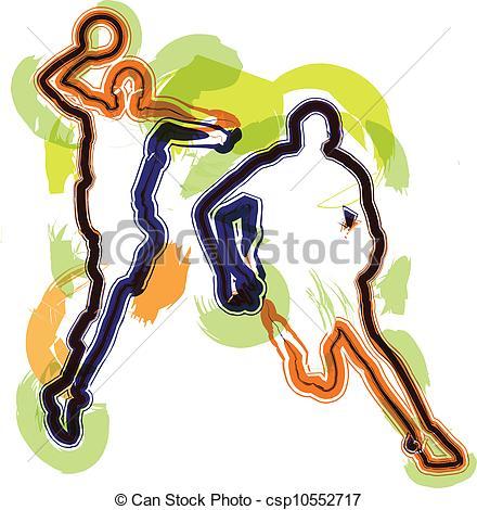 440x470 Basketball Player In Action. Vector Illustration Vector Clip Art