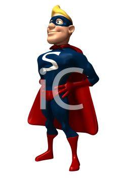 245x350 3d Superhero Standing Proudly