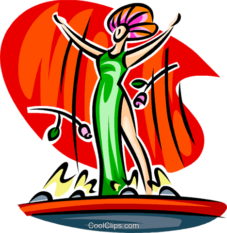 468x480 Actress On Stage Royalty Free Vector Clip Art Illustration