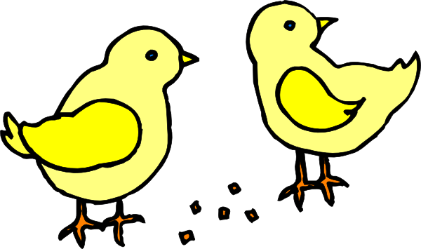 600x355 Chicks With Feed Clip Art