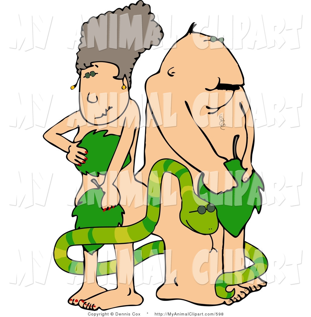 1024x1044 Clip Art Of Adam And Eve With Serpent In The Garden Of Eden By