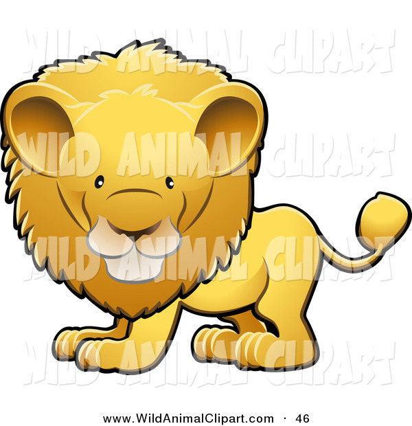 600x620 Clip Art Of An Adorable Golden Male Lion With A Big Mane Looking