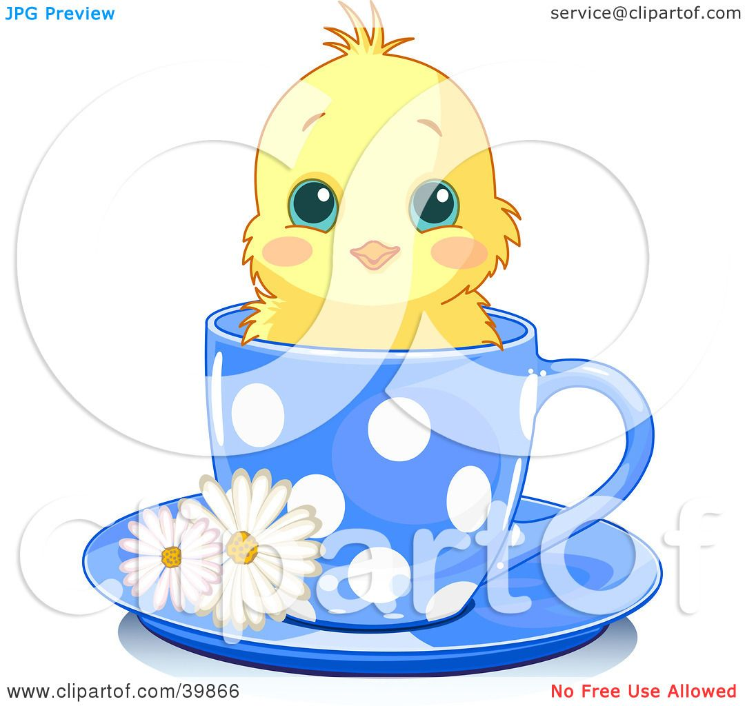 1080x1024 Clipart Illustration Of An Adorable Yellow Chick In A Blue Polka