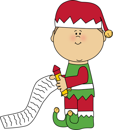 435x500 Elf With A Christmas List Christmas Clip Art Elves