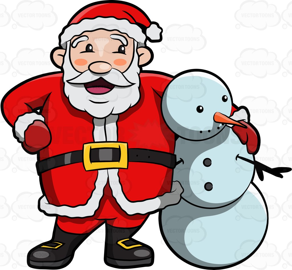 1024x948 Santa Claus Hugging A Snowman Cartoon Clipart Vector Toons