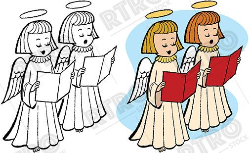 504x309 Two Angels Sing Holiday Christmas Carols Retro Clip Art Clipart