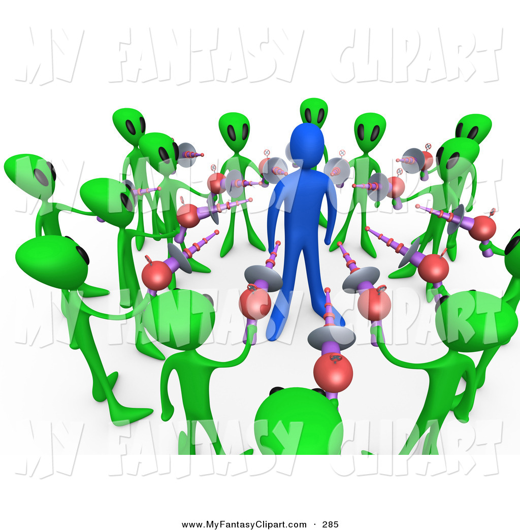 1024x1044 Clip Art Of Green Aliens Surrounding A Blue Adult Person