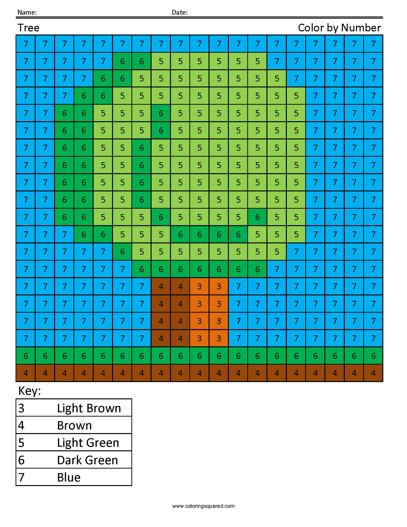 1700x2200 Tree Color By Number