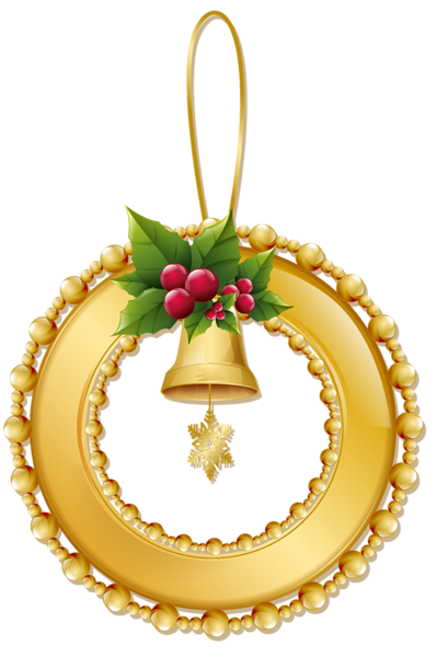 399x600 Christmas Gold Wreath With Bell Png Ornament