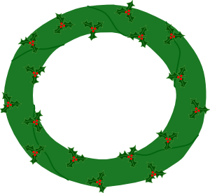 300x275 Wreath Of Evergreen, With Red Berries Clip Art