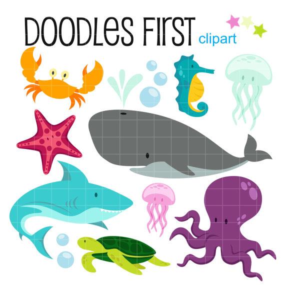 570x570 Underwater Creatures Sea Adventure Clipart Digital Clip Art