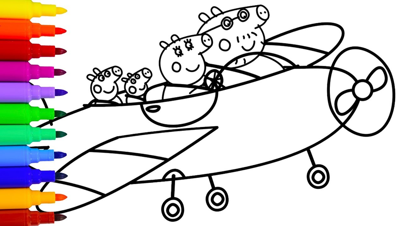 1280x720 How To Draw Peppa Pig Family Airplane Coloring Pages For Kids
