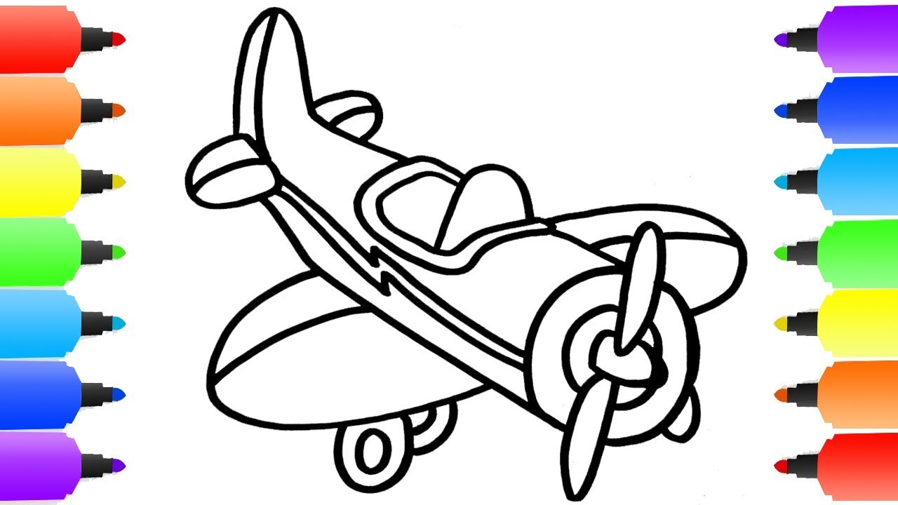 1280x720 How To Draw Plane Learn Colors With Plane Coloring Pages