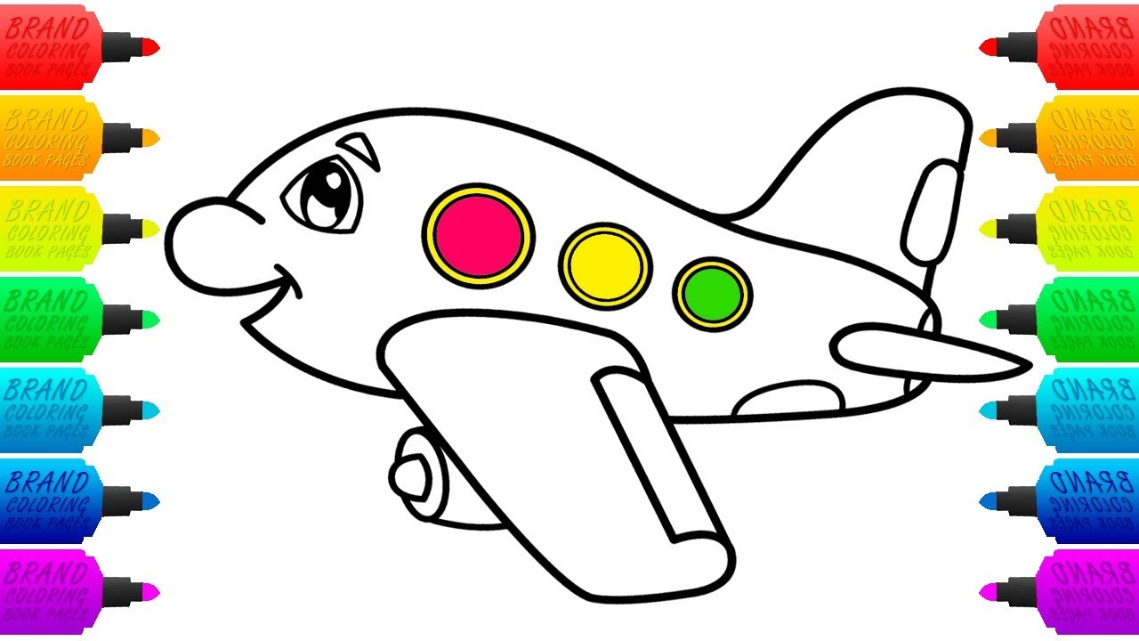 1280x720 Airplane Coloring Pages For Kids Aeroplane Colouring Video