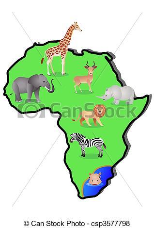 318x470 Animal Map. Vector Illustration Of Africa Wildlife Vector