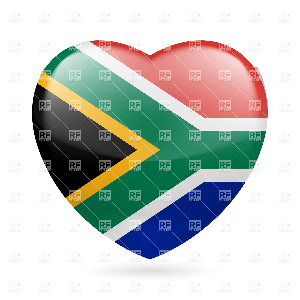 1200x1200 I Love South Africa. Heart With Flag Colors Royalty Free Vector