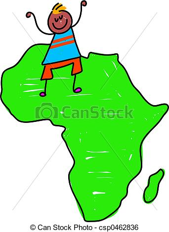 342x470 African Kid. Happy Little Ethnic Boy Standing On A Map Of Stock