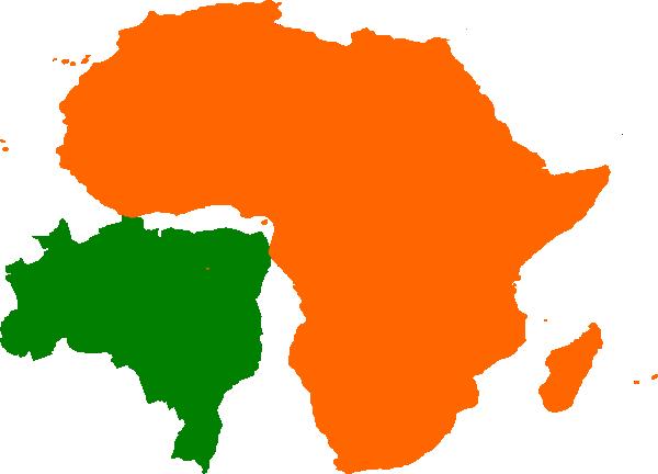 600x432 Africa Brazil Map Clip Art