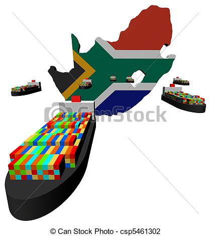420x470 South Africa Map Flag With Ships Illustration. South Africa