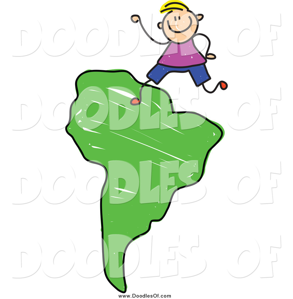 1024x1044 Vector Clipart Of A Doodled Blond White Boy On A Green South