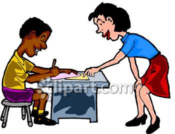 350x268 Caucasian Teacher Helping African American Student Clip Art