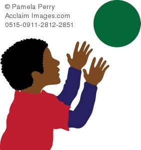 282x300 Clip Art Illustration Of An African American Boy Reaching For A Ball