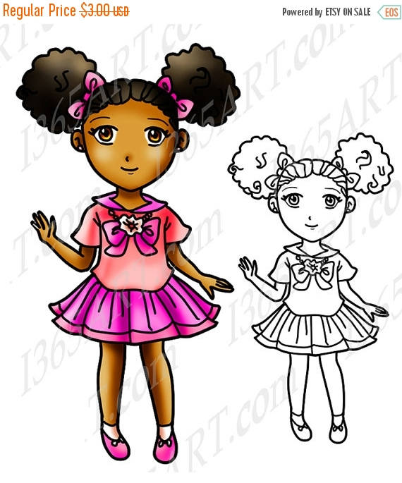 570x685 50% Off African American Girl Clipart, Black Girl, Afro Puffs