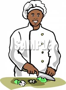222x300 Clip Art Image A Smiling African American Chef Chopping Lettuce