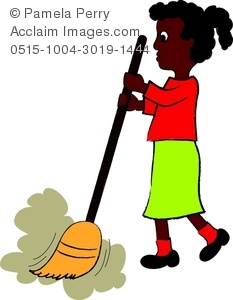 233x300 Clip Art Image Of A Little African American Girl Sweeping