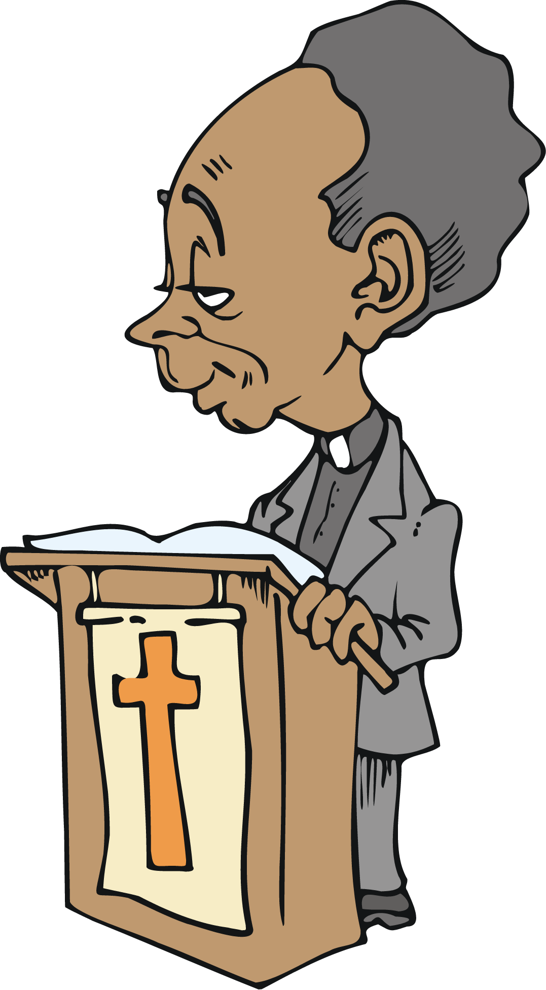 1077x1953 Free African American Cartoon Character Preacher Vector Clip Art