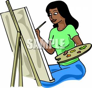 300x288 An African American Woman Painting And Holding A Palette