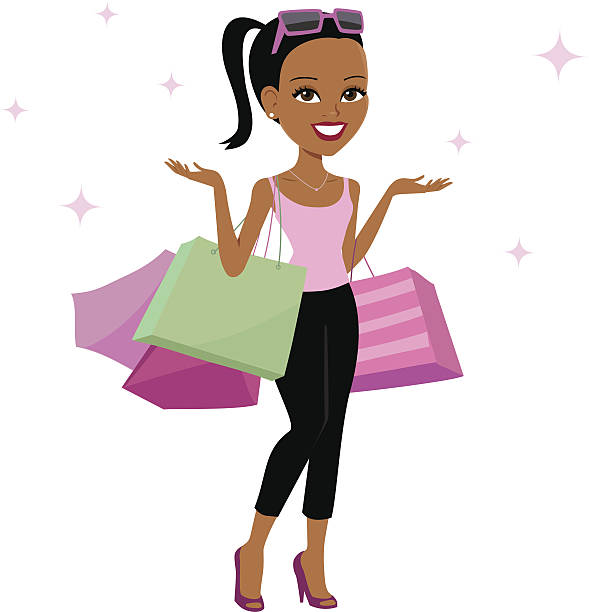 589x612 Black Girl With Shopping Bags Clipart 3669 Fashion Trends
