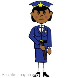 300x300 Clip Art Illustration Of A African American Stick Policewoman