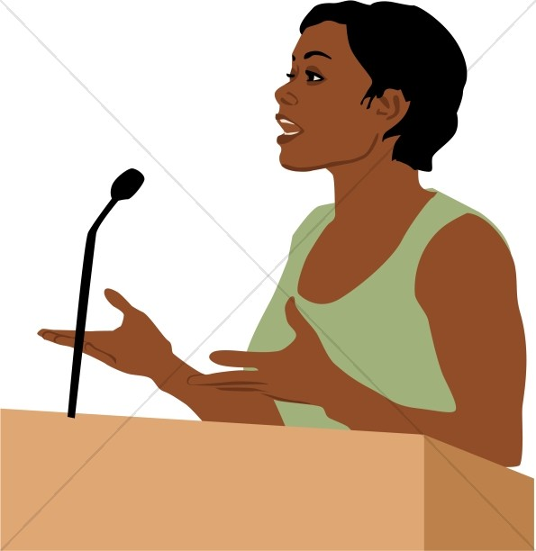 595x612 Female African American Speaker Church People Clipart