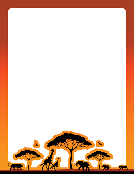 470x608 An African Safari Themed Page Border. Free Downloads
