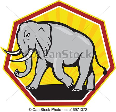 450x437 Angry Elephant Walking Cartoon. Illustration Of An Elephant