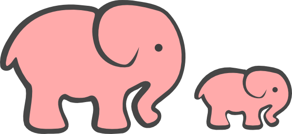 600x277 Elephant Baby Shower Graphics Animals Cute Pink Clipart