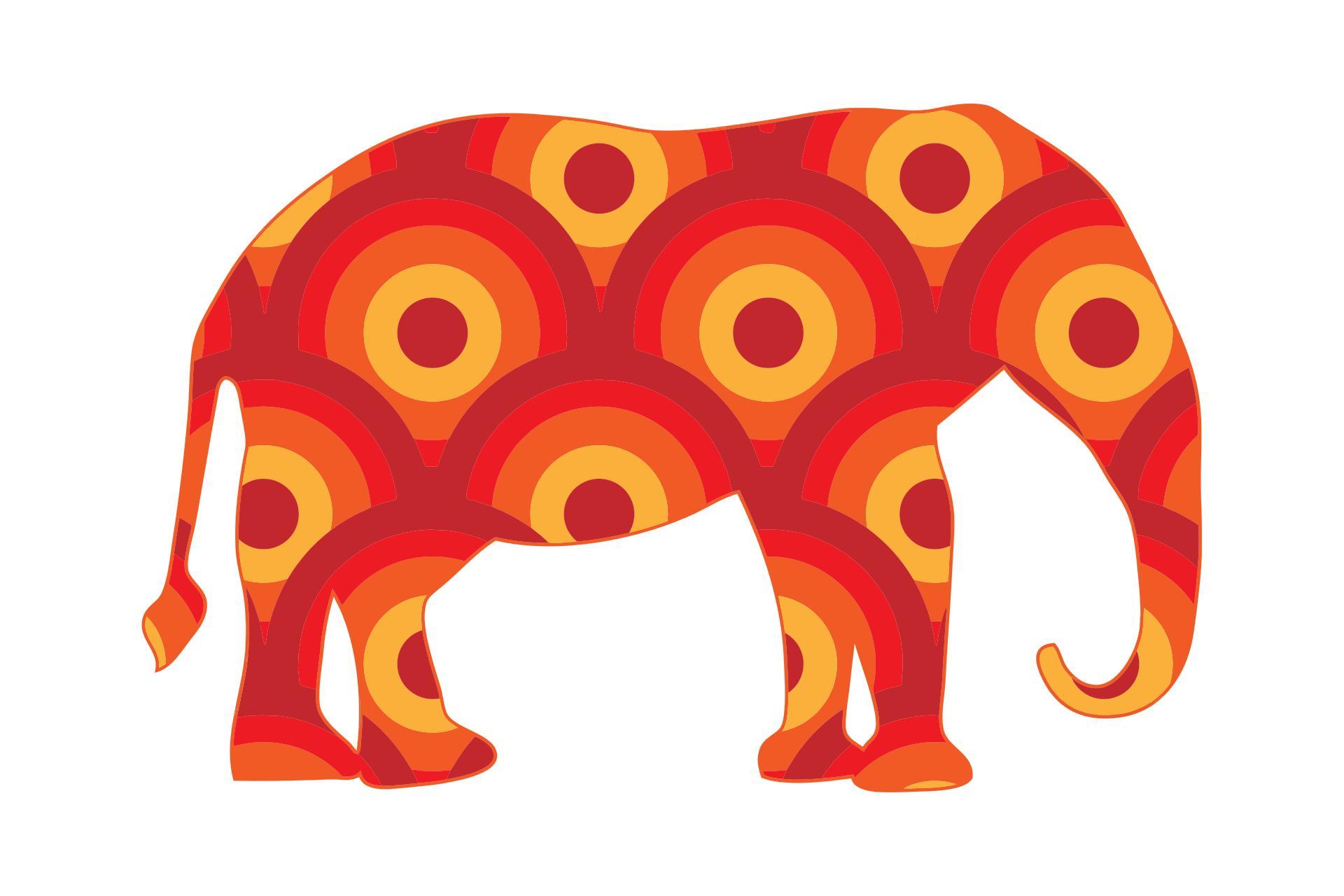 1920x1280 Retro Circles Elephant Clipart