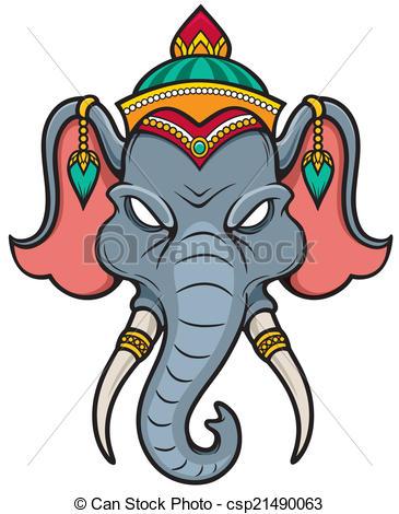 365x470 Vector Illustration Of Elephant Head Clip Art Vector