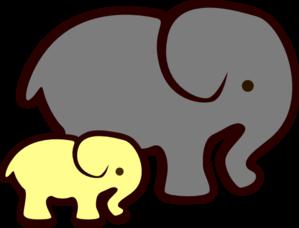 299x228 Yellow Elephant Mom Amp Baby Clip Art