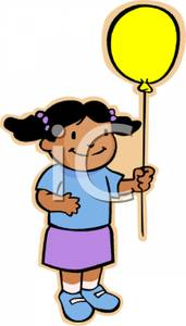 171x300 Clip Art Image A Cute African American Girl Holding A Yellow Balloon