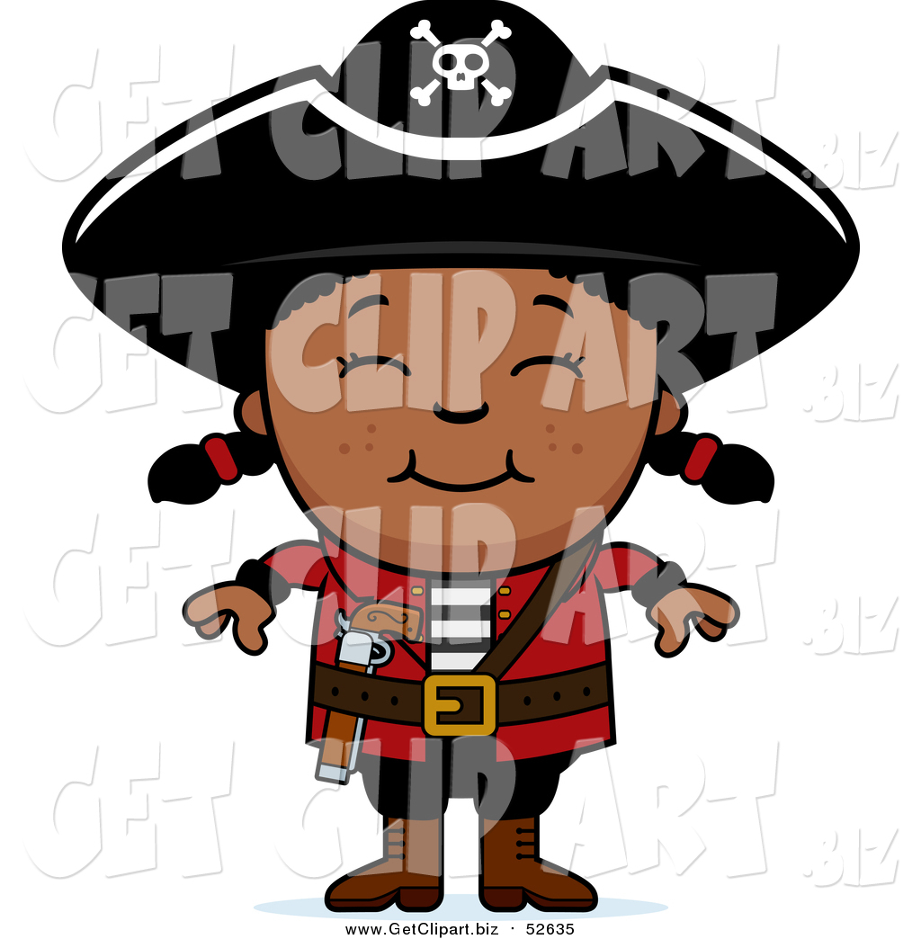 1024x1044 Clip Art Of A Happy Black Pirate Girl Smiling By Cory Thoman