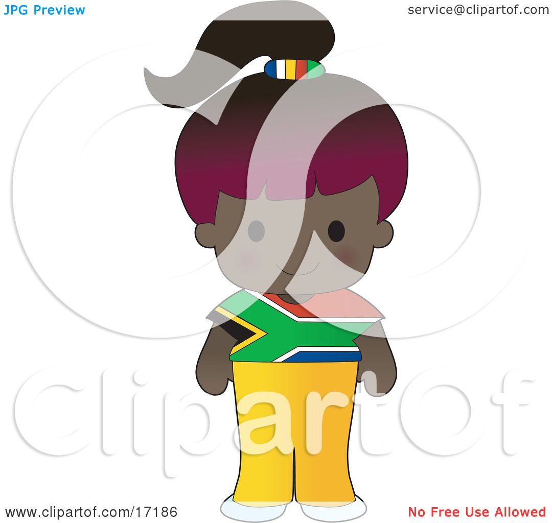 1080x1024 Cute African Girl Wearing A Flag Of South Africa Shirt Clipart