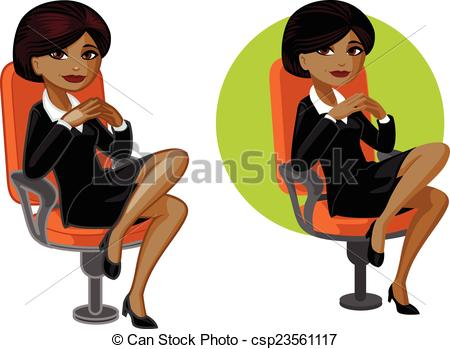 450x349 Cute Young African American Office Woman On Chair Vector Vector